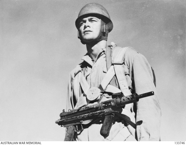 Austen Armed Paratrooper From The Australian Parachute Battalion Training  Centre, C.1945. The Austenu0027s Folding Stock Made Issue To Paratroops One Of  The Few ...