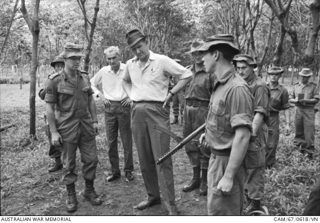 NUI DAT, VIETNAM, 7TH BATTALION, THE ROYAL AUSTRALIAN REGIMENT (7RAR) with F1 SMG