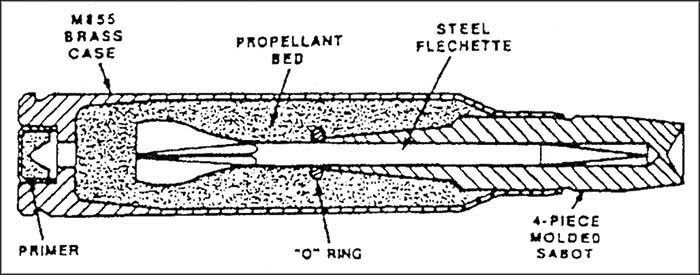 Diagram showing AAI's saboted flechette round inside a 5.56x45mm M855 case (US Army)