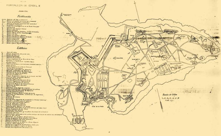 Map of the La Mola peninsular and fort