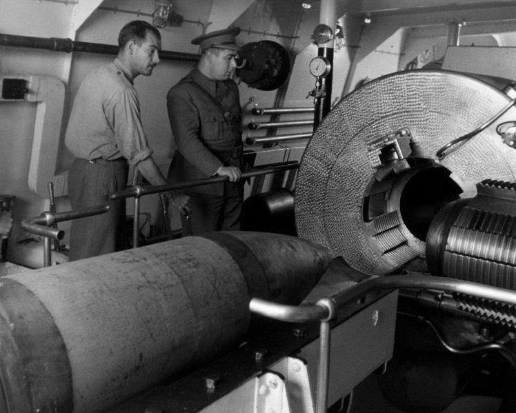 Inside the 15 inch gun turret