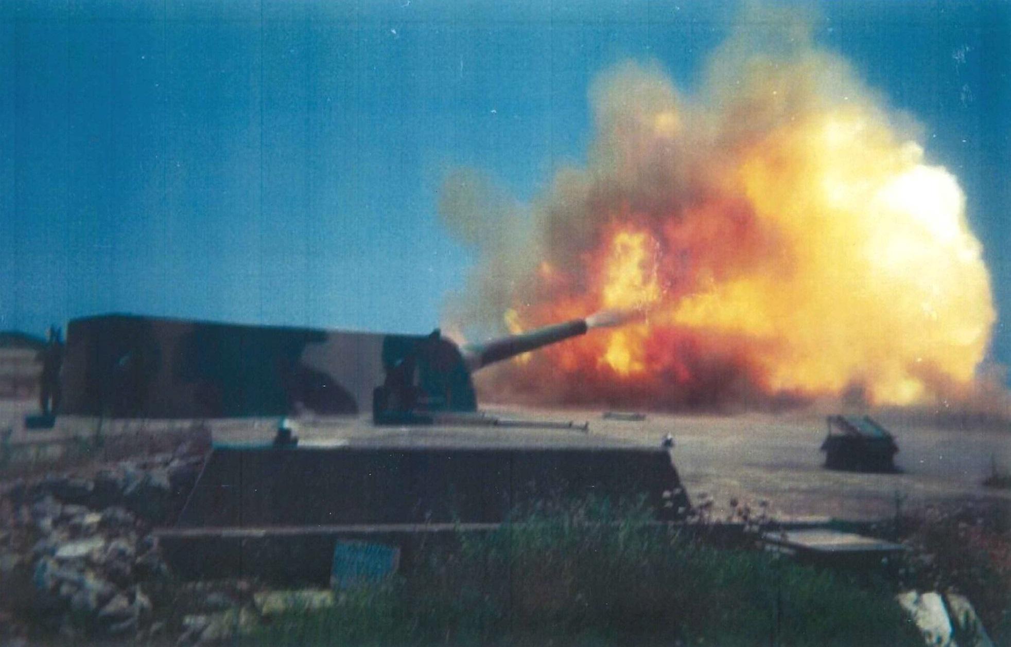 15 inch Vickers gun firing in the 1980s