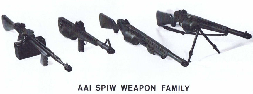 4 guns from AAI's family of weapons 60s SPIWs