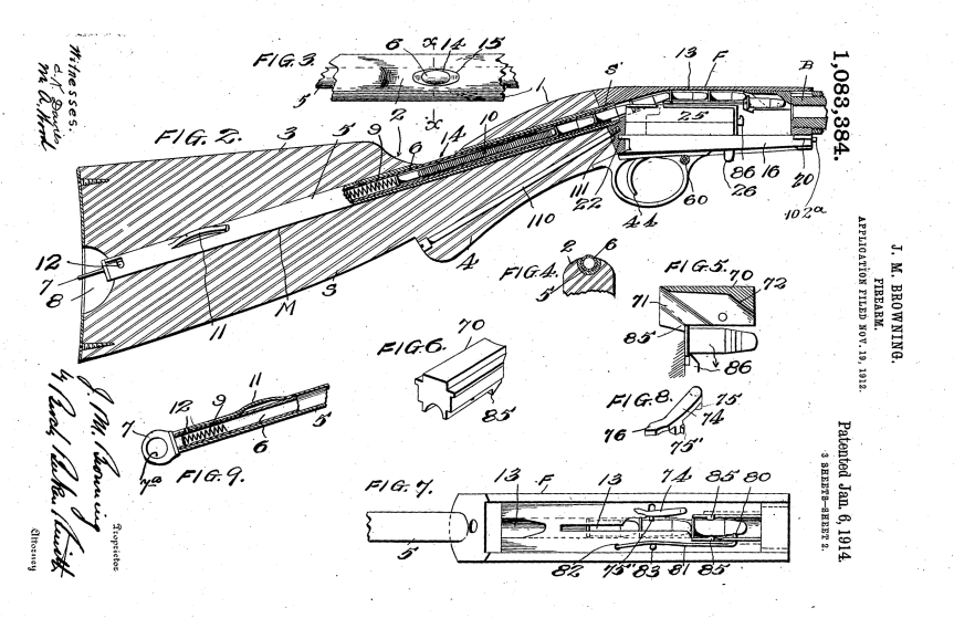 Browning's Patent for his .22 SA