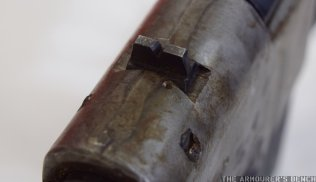Close up of the carbine's simple notched rear sight (Matthew Moss)