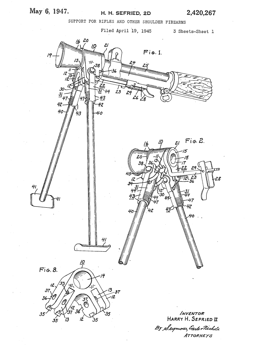 Sefried's April 1945 bipod and flash hider patent (US Patent Office)